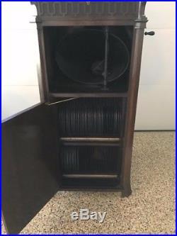 1915 Edison C19 Diamond Disc Phonograph Record Player & Cabinet-holds 72 vinyl