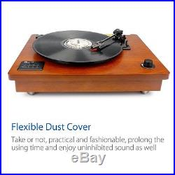 3 Speed Bluetooth Turntable Record Player USB Transfer MP3 Nature Wood