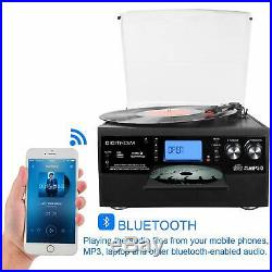 Bluetooth Record Player Turntable, LP Vinyl to MP3 Converter with CD Cassette