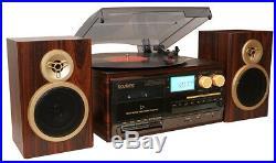 Boytone BT-28SPM 3-Speed Bluetooth Turntable, Record Player, CD, cassette, AM, FM