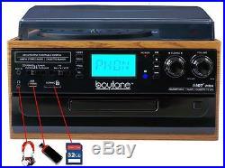 Boytone Bluetooth Record Player Turntable AM/FM Radio/Cassette/CD/MP3/SD/USB/AUX