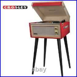 Crosley BERMUDA 2 Speed Portable Turntable with Built In Speakers + Stand RED