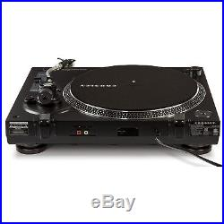 Crosley C200 2 Speed S-Shaped Built-In Preamp Record Player Turntable, Black