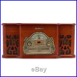 Electrohome Record Player Retro Vinyl Turntable Stereo System with AM/FM & CD