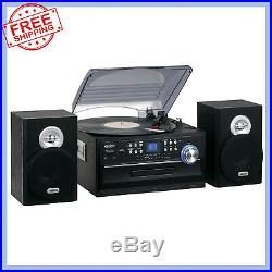 Home Stereo System Radio CD Cassette Player Combo Record 3-Speed Vinyl Turntable