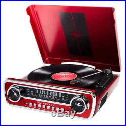 ION 1965 FORD MUSTANG LP Car-Styled Turntable Record Player AM/FM Radio RED NEW