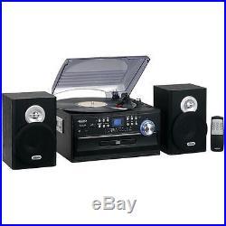 Jensen AM-FM Radio 3-Speed Turntable-CD-Cassette-Record Player Stereo Vinyl