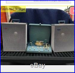 Lot Vintage Hilton Ac-200 Record Player In Box/Pair Of Hilton Speakers WithCovers