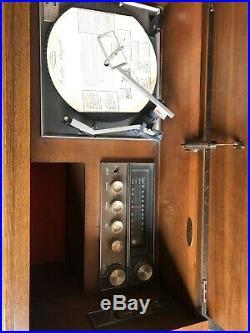 Louvered Walnut Radio Receiver Record Player Mid Century Modern Cabinet MCM