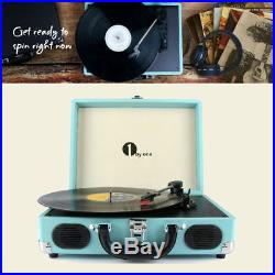 Portable Vintage Vinyl Record Player Stereo Turntable With Speaker MP3 Turquoise