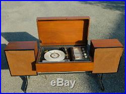RARE Zenith HIFI Mid Century Modern Record Player Radio Flip Top Console on Base