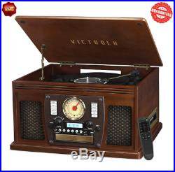 Record Player With Speakers Espresso 6 in 1 Bluetooth Radio Classic CD Cassette