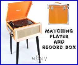 Record Player and Storage Box Steepletone Orange SRP1R 16 and SRB2 Vinyl Set