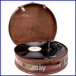 Retro Turntable Record Player 3 Speed Vinyl Bluetooth USB Vintage Suitcase Wood