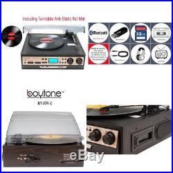 Retro Vintage Radio cassette Mp3 Record Player Turntable Vinyl Lp Bluetooth USB