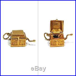 Solid 14k Yellow Gold 3-d Old-style Record Player Charm