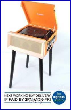 Steepletone Orange SRP1R 16 3 Speed Retro Record Player Turntable AM FM Radio