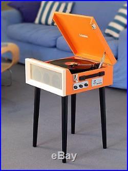Steepletone SRP1R16 Turntable Radio 3 Speed Record Player USB SD On Legs Orange