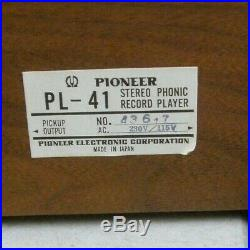 VINTAGE PIONEER PL-41 TURNTABLE RECORD PLAYER with ORIGINAL BOX + EXTRA CARTRIDGE