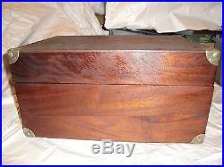 Victor Victrola Antique VV-50 Tiger Oak Portable Phonograph Record Player Works