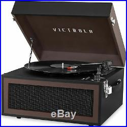 Victrola Bluetooth Record Player Stand with 3-Speed Turntable Black and Brown