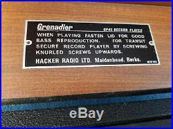 Vintage Hacker GP45 Grenadier Teak Cased Record Player with Amplifier