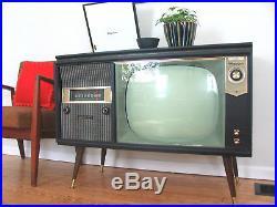 Vtg 50s 60s Tube Record Player Radio TV Console Mid Century Danish Modern Hi-Fi