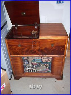 Vtg NEAT HTF RARE VICTROLA Record Player Radio Wood Console Stereo Cabinet