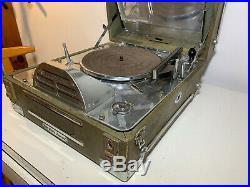 Vtg Rca Victor Special Phonograph J. Vassos Portable Record Player Deco Aluminum